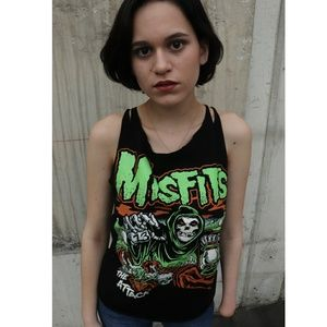 Misfits Pumpkin Slashed Sleeve Spiderweb Cut Tee